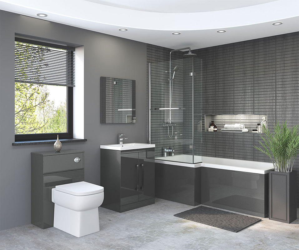 Bathroom: Nevada Bathroom Suite In Gloss Grey
